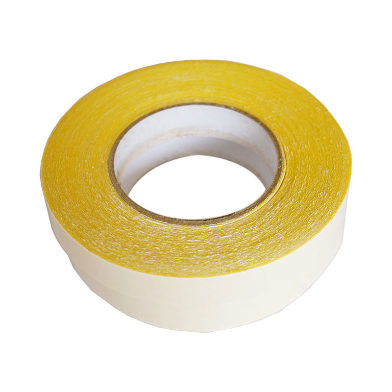 Heat Resistant Double Sided Carpet Tape , Rough Surface Carpet Sealing Tape Yellow